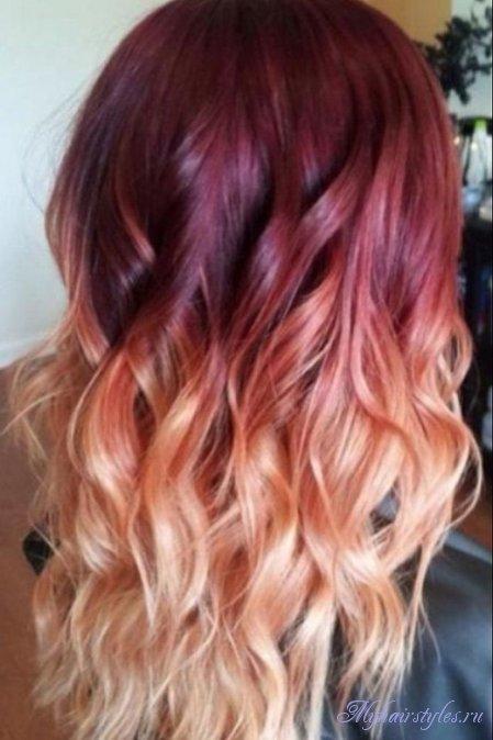 необычное амбре окрашивание волос фото