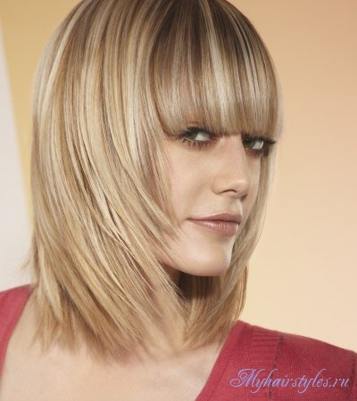 Стрижка каре на каскад на средние волосы с челкой