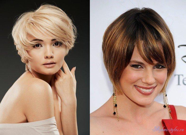 Причёски для круглого лица на короткие волосы фото с челкой